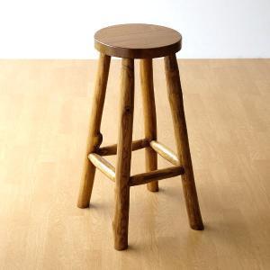 スツール 木製 椅子 おしゃれ アジアン家具 無垢 丸椅子 天然木 ハイスツール カウンターチェア チーク原木スツール 70の写真
