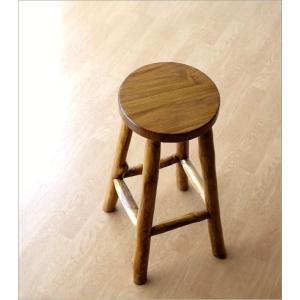 スツール 木製 椅子 おしゃれ アジアン家具 無垢 丸椅子 天然木 ハイスツール カウンターチェア チーク原木スツール 70|gigiliving|02