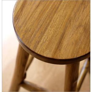 スツール 木製 椅子 おしゃれ アジアン家具 無垢 丸椅子 天然木 ハイスツール カウンターチェア チーク原木スツール 70|gigiliving|03
