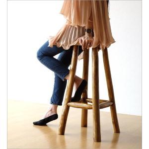 スツール 木製 椅子 おしゃれ アジアン家具 無垢 丸椅子 天然木 ハイスツール カウンターチェア チーク原木スツール 70|gigiliving|05