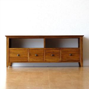 テレビ台 テレビボード おしゃれ 収納 TV台 木製 無垢 アジアン家具 完成品 チークローボード114スリム