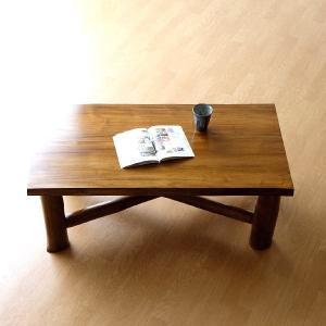 ローテーブル 木製 天然木 無垢 おしゃれ リビングテーブル 座卓 アジアン家具 完成品 チーク原木テーブル|gigiliving
