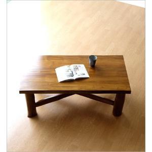 ローテーブル 木製 天然木 無垢 おしゃれ リビングテーブル 座卓 アジアン家具 完成品 チーク原木テーブル|gigiliving|06