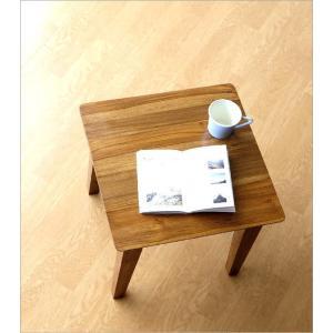 サイドテーブル 木製 カフェテーブル コーヒーテーブル 無垢 アジアン家具 完成品 チークコンパクトテーブル45|gigiliving|02
