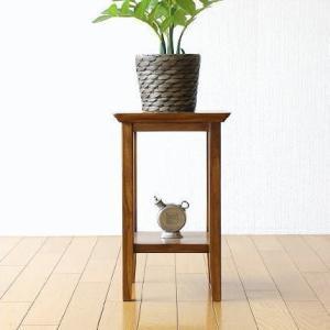 高級材料チーク無垢材を100%使用した スタイリッシュな花台  玄関ホールやリビングに 観葉植物や花...