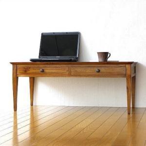 ローデスク 机 木製 天然木 無垢材 パソコンデスク シンプル アジアン 幅100 奥行50 完成品 チークスタイリッシュデスク ロータイプ