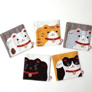 コースター おしゃれ セット 手染め 麻 布 かわいい 招き猫 開運猫コースター5枚セット|gigiliving