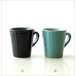 マグカップ 益子焼 陶器 日本製 おしゃれ モダン ナチュラル ライン コップ コーヒーカップ コーヒーマグ カラー鎬マグカップ 2カラー|gigiliving|06