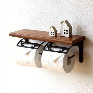 トイレットペーパーホルダー 2連 真鍮 天然木 木製 棚付き ダブル おしゃれ デザイン ブラスとウッドのWペーパーホルダー|gigiliving