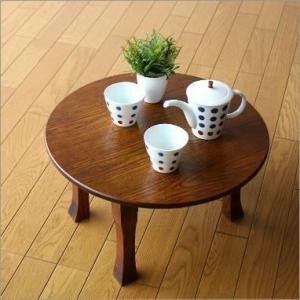 ちゃぶ台 折りたたみ 漆塗り 丸テーブル ローテーブル 和風 和室 コンパクト ちゃぶ台(小) gigiliving