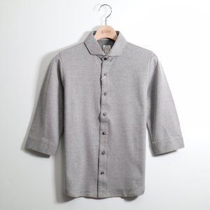 gim ジム 裏カノコバ-ズアイシルケットワイドカラ-7分袖シャツ S|gimonline