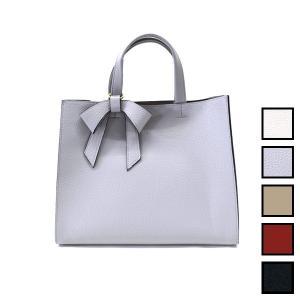ポイントレザーリボン マチ広シンプルハンドバッグ