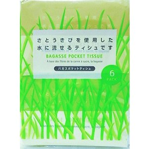 和光製紙 水に流せるバガス ポケットティシュ 6コパック 大袋 ( ティッシュペーパー ) ( 49...