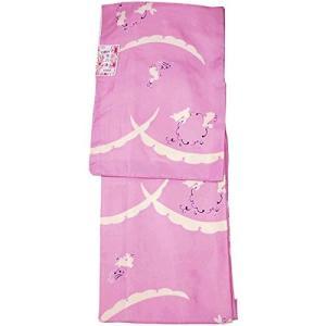 洗える着物 袷 小紋 仕立て上がり プレタ 露芝 兎 62591-62593(L(約155cmから163cmの方用), ピンク)|gingaichimarket