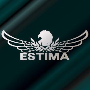 エスティマ ステッカー 車 おしゃれ  :8cm×22cm (銀色)  エンブレム リアガラス ステッカー かっこいい|ginkage