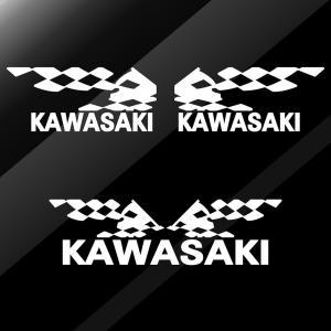 KAWASAKI カワサキ バイク ステッカー かっこいい レーシング フラッグ  エンブレム 3点 セット ginkage