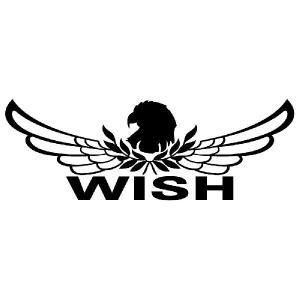 ウイッシュ ステッカー 車 おしゃれ :8cm×22cm (黒色)  エンブレム リアガラス ステッカー かっこいい|ginkage