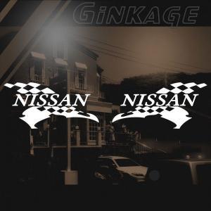 ニッサン 車ステッカー レーシング NISSAN サイズ: 8cm×16cm×左右反転ツインセット ginkage