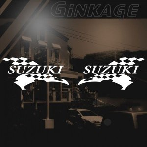 スズキ バイクステッカー レーシング SUZUKI サイズ: 8cm×16cm×左右反転ツインセット ginkage