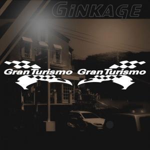 GT ステッカー レーシング GRAN TURISMO サイズ: 12cm×28cm×左右反転ツインセット 車 ステッカー バイク ステッカー|ginkage