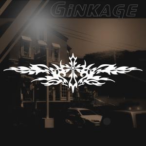 バイク 車 ステッカー かっこいい メーカー リア カウル 十字架 トライバル カッティングシート ステッカー|ginkage