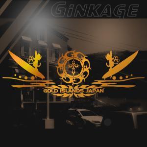 トライバル サーフ ステッカー 十字架 リアガラス ステッカー サイズ:16cm×47cm :ゴールド色 ステッカー サーフ  かっこいい 車 ステッカー|ginkage