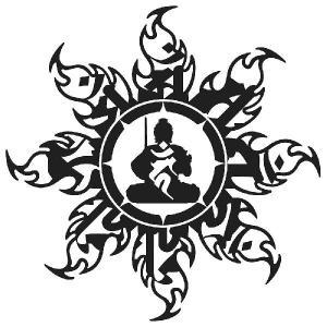 不動明王 ステッカー 車 かっこいい 文字 梵字 お洒落な後光をまとった 守護神 ステッカー リア|ginkage