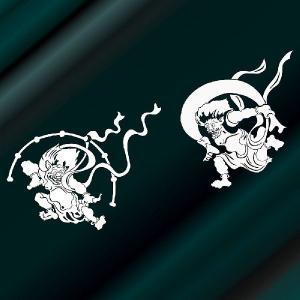 風神雷神 ステッカー カッティングサイズ:24cm×65cm 車 ステッカー リアガラス用 ステッカー 風神雷神|ginkage