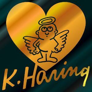 キース・ヘリング ステッカー  サイズ:8cm×8cm (金色)  車 ステッカー 車用 ステッカー 車   おもしろ ステッカー おもしろ キースヘリング|ginkage