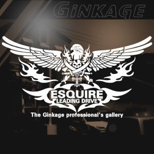 トヨタ エスクァイア 愛車種名が入る かっこいい ドクロ ウイング 車 ステッカー オリジナル メーカー ロゴ エンブレム リアガラス用|ginkage