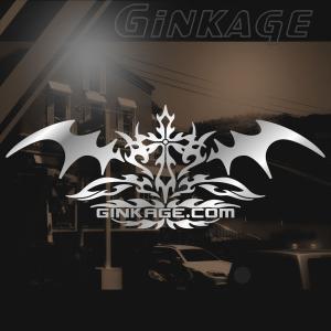 十字架 トライバル センター クロス ライン ステッカー  サイズ:8cm×20cm 【シルバー色】 カッティング サーフ ステッカー かっこいい 車 ステッカー|ginkage
