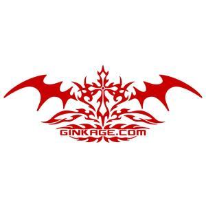 十字架 トライバル センター クロス ライン ステッカー  サイズ:12cm×30cm 【赤色】  サーフ ステッカー かっこいい 車 ステッカー|ginkage