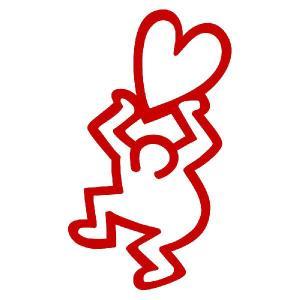 キースヘリング ステッカー サイズ:5cm×3cm (赤色)(左) 車 ステッカー 車 おもしろ ステッカー おもしろ|ginkage