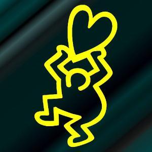 キースヘリング ステッカー サイズ:5cm×3cm (黄色)(左) 車 ステッカー 車 おもしろ ステッカー おもしろ|ginkage