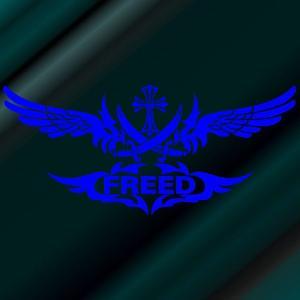 ステッカー フリード エンブレム サイズ:18cm×40cm 青 ステッカー 車 ステッカー リアガラス ステッカー 十字架   かっこいい|ginkage