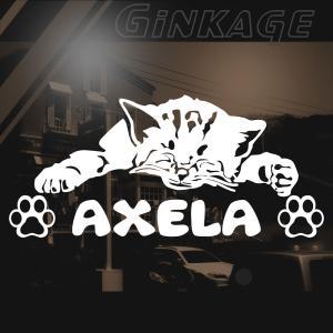 マツダ アクセラ 猫 車 ステッカー リア メーカー ロゴ 猫 用品 おしゃれ 切り文字 ネームシール カッティング ステッカー|ginkage