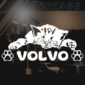 ボルボ 猫 車 ステッカー おしゃれ リア メーカー ロゴ 猫 用品 切り文字 ネームシール カッティング ステッカー|ginkage