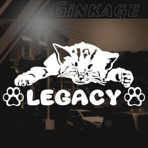 SUBARU スバル レガシー 女性に人気の 車 ステッカー 猫エンブレム リアガラス用|ginkage