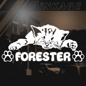 SUBARU スバル フォレスター 女性に人気の 車 ステッカー 猫エンブレム リアガラス用|ginkage