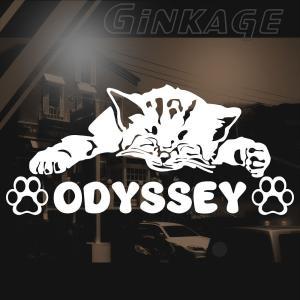 HONDA ホンダ オデッセイ 車 ステッカー おしゃれな 切り文字 ねこ 肉球 ネームプレート用 猫 雑貨 ネコ ステッカー|ginkage