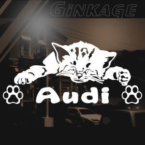 Audi アウディ 車 ステッカー おしゃれな 切り文字 ねこ 肉球 ネームプレート用 猫 雑貨 ネコ ステッカー|ginkage