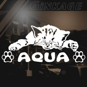 猫 ステッカー 車 おしゃれな TOYOTA トヨタ アクア ブランド メーカー エンブレム リア用|ginkage