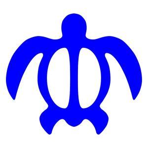 ハワイアン カメ ステッカー サイズ:16cm×18cm :青色 ステッカー カメ ハワイアン グッズ ハワイアン 雑貨  ステッカー 車|ginkage