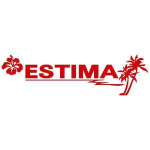 エスティマ ステッカー サーフ  サイズ:12cm×42cm (赤色) ステッカー 車 ステッカー エンブレム ハワイアン|ginkage