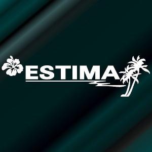 エスティマ ステッカー サーフ  サイズ:12cm×42cm (白色) ステッカー 車 ステッカー エンブレム ハワイアン|ginkage
