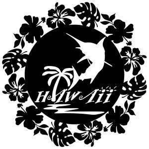 ステッカー ハワイアン カジキ ハイビスカス モンステラ サイズ:16cm×16cm :黒色|ginkage