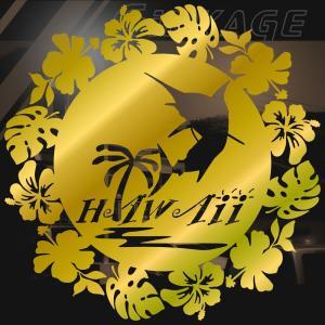 ステッカー ハワイアン カジキ ハイビスカス モンステラ サイズ:16cm×16cm :金色|ginkage