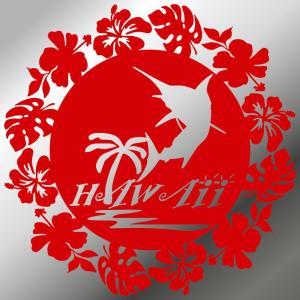 ステッカー ハワイアン カジキ ハイビスカス モンステラ サイズ:16cm×16cm :赤色|ginkage