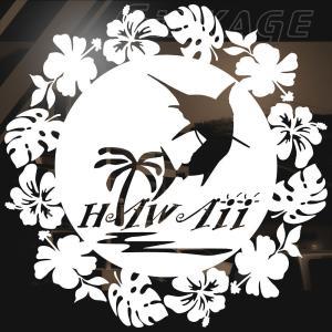 ステッカー ハワイアン カジキ ハイビスカス モンステラ サイズ:16cm×16cm :白色|ginkage