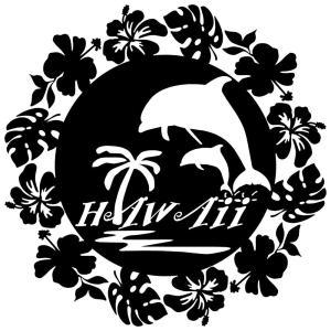 ステッカーハワイアン イルカ ハイビスカス モンステラ サイズ:16cm×16cm :黒色|ginkage